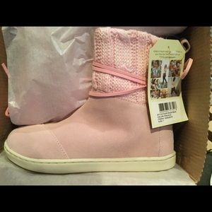 TOMS Kids Nepal Boot Pink Suede Knit  NEW  Youth
